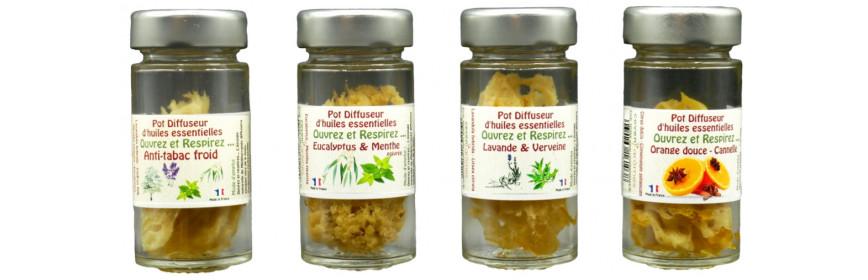 Pots éponges diffuseurs d'huiles essentielles